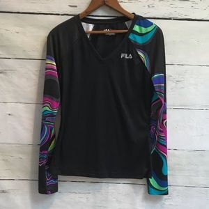 Fila long sleeve workout top multi color size S